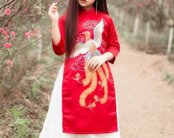 Ao dai for toddlers/ girls with Phoenix details - Vietnamese traditional dress