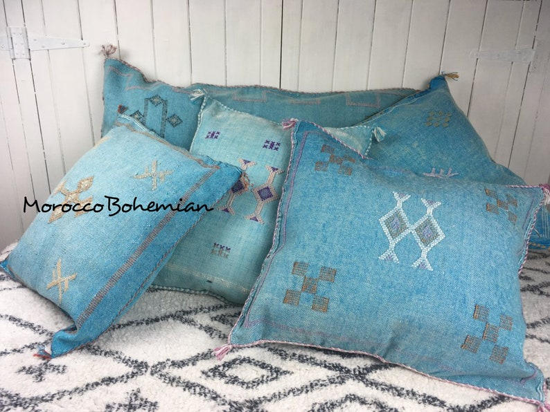 Turquoise Color Handmade Cactus Cushion Sabra Pillowcase Set Of 2 Handmade and Hand-stitched Moroccan Cactus Sabra Pillow Cover