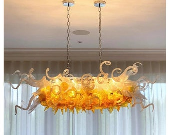 rectangle chandelier lighting fixture for dining, murano chandelier fixture, blown glass pendant light , handblown chandelier lighting