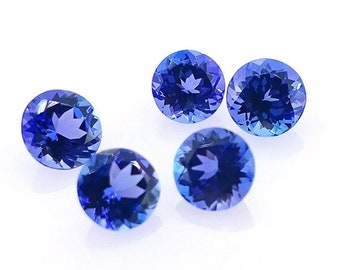 5.5-inch AA quality Tanzanite smooth plain round beads size 5-6.5mm 41cts gw2057