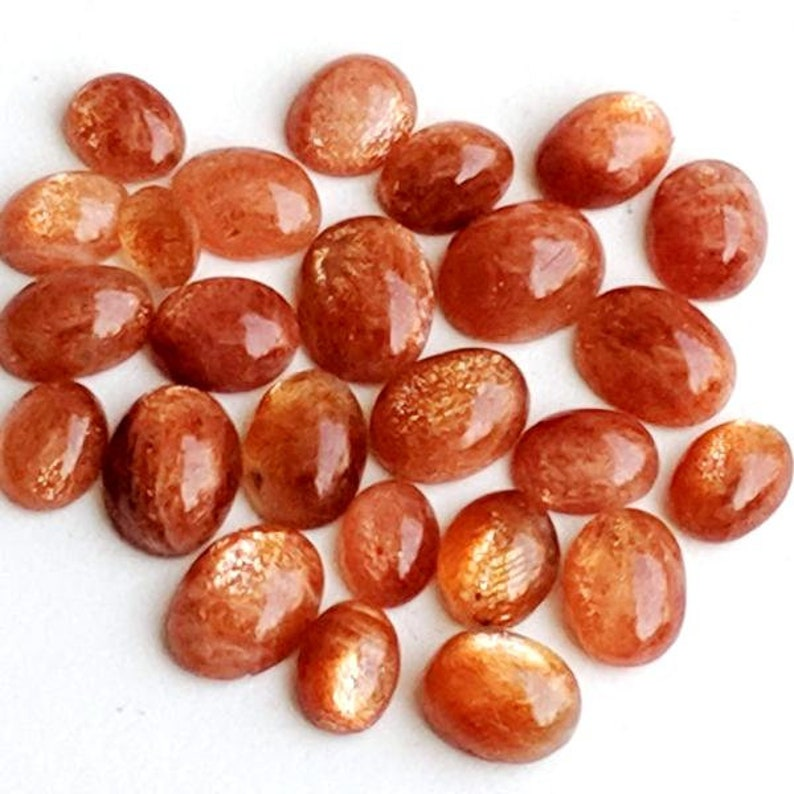 3x5mm4x6mm5x7mm6x8mm7x9mm Natural Brown Sunstone oval shape flat back cabochon for jewelry