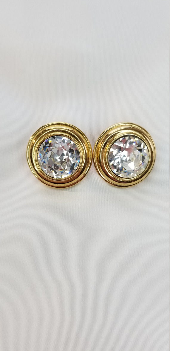 Extra large crystal clip on earrings Monet earring