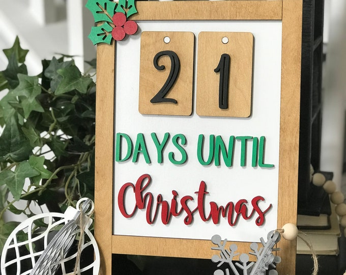 """SMALL Easel Style Count Down Calendar (8""""x12""""), Advent Calendar, Rustic Christmas ***Digital File Only"""