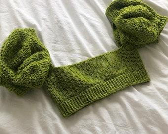 Tie Back Puffed Sleeve Crochet Crop Top