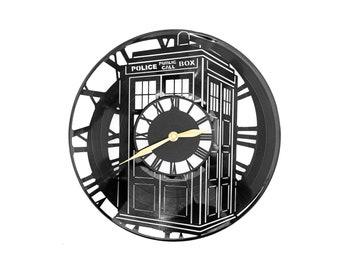Doctor Who Tardis Wall Clock Whovian Police Box Union Jack Time Travel London UK