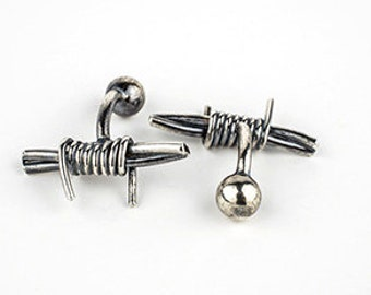 Silver Barb Wire Cuff Links