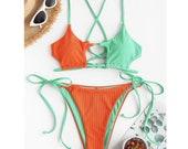HOT Summer Ladies Push Up High Cut Hight Waist Halter Bikini Set Women Patchwork Sexy Swimsuit Femme Two Piece Swimwear Swimming