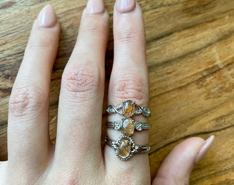 gold rutilated quartz jewelry Sterling silver ring 103 rutilated quartz ring size 7.5 size 7.5 ring golden rutilated quartz ring