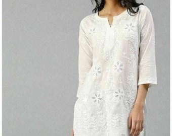 Sara Ali Khan Valentine Special White Georgette Chikankari Angarkha Kurta Women Ethnic Festive Wear Lucknawi Chikan Kurti Kurta Shirt