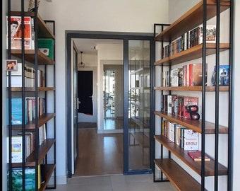 Walnut Bookcase Bookshelf metal Bookcase - Wall Unit - Records storage - Rustic Bookshelf - Industrial Furniture - Industrial bookcase
