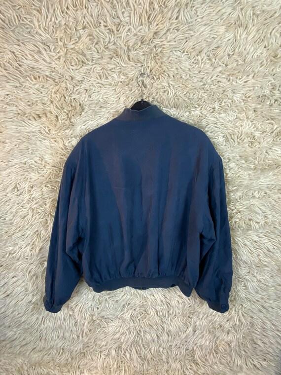 Vintage Silk Size M Bomber jacket Blouson jacket … - image 2