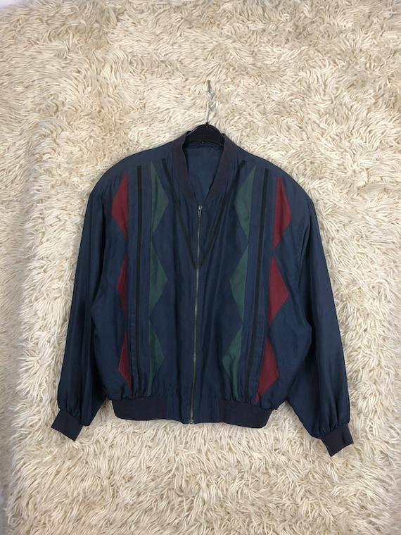 Vintage Silk Size L Bomber jacket silk Blouson Li… - image 1
