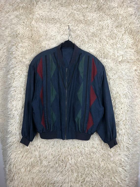 Vintage Silk Size L Bomber jacket silk Blouson Li… - image 7