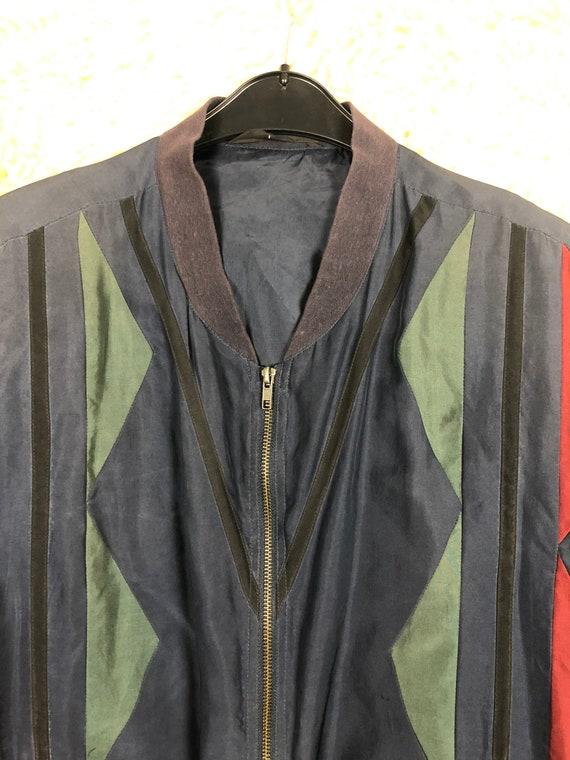 Vintage Silk Size L Bomber jacket silk Blouson Li… - image 5