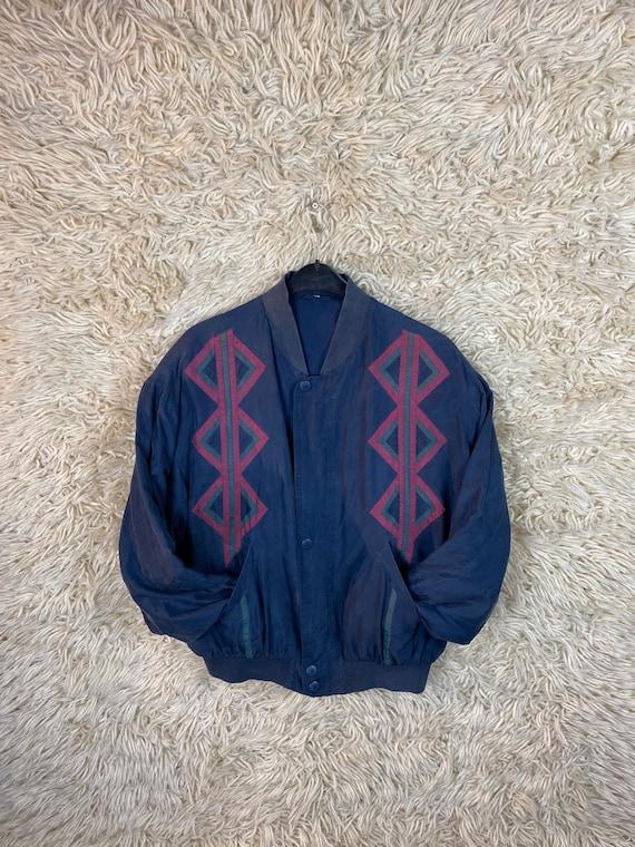 Vintage Silk Size M Bomber jacket Blouson jacket … - image 9