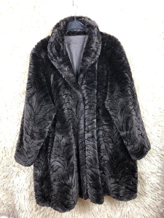 Vintage Fake Fur Coat Jacket Coat Faux Fur Tiger 8