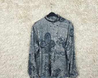 Vintage Size M - L Crazy Pattern Longsleeve Shirt Long Sleeves Shirt long sleeves 80s 90s Baroque abstract