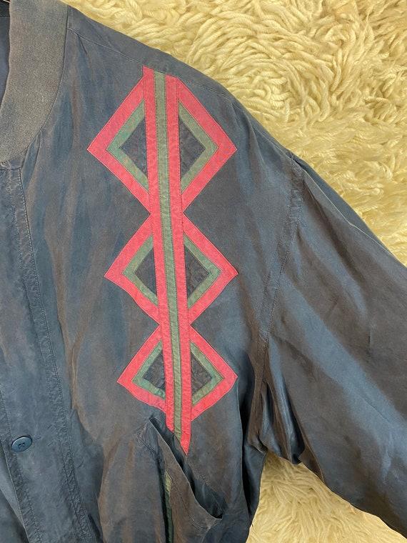 Vintage Silk Size M Bomber jacket Blouson jacket … - image 8