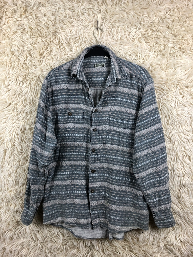 Vintage Flannel Shirt Navajo Aztec Flannel Longsleeve Shirt Long Sleeve Shirt Long Sleeves 80s 90s Size M-XL