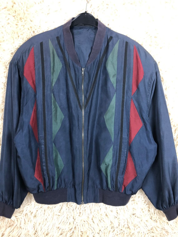 Vintage Silk Size L Bomber jacket silk Blouson Li… - image 3