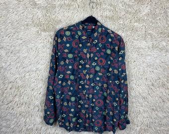 Vintage Silk Size L - XL Crazy Pattern Longsleeve Shirt Long Sleeve Shirt Shirt Blouse 80e 90s