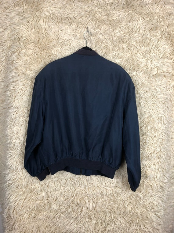 Vintage Silk Size L Bomber jacket silk Blouson Li… - image 2