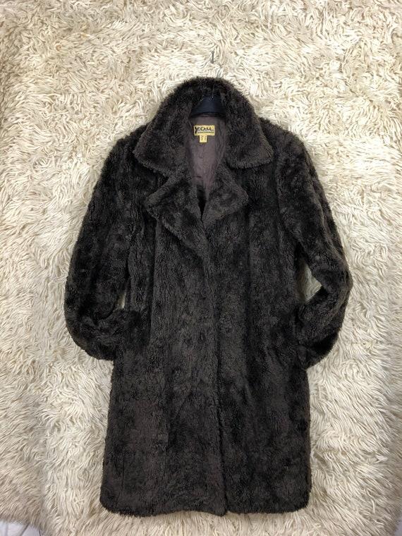 Vintage Fake Fur coat jacket kunstpelz Mantel Dame