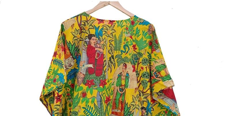 Maxi Dress Comfy Dress Indian Cotton Caftan Beach Dress with Tassels Maternity Wear Nightwear Frida Kahlo Printed Kaftan Lounge Wear