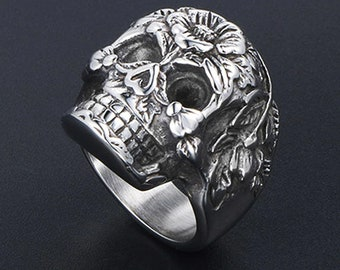 silver colour Gothic  unisex ring  :   mexican  skull  made to order in copper in your size   goldy and white Bronze possible gold color