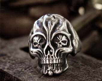 Gothic Vampire Skull Men Womens Stainless Steel Biker Rings Man Gothic Punk Jewelry couple ring Vampire Skull Ring gift for himher