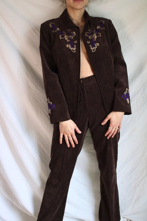 Suede Pant Suit Set