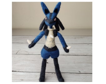Lucario Wool Sculpture - 100% Handcrafted Pokemon Needle Felt (Made to order)