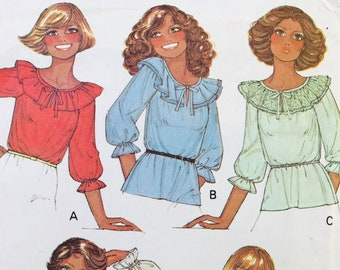 Vintage /'90s Judy Bond Wild Print Balloon Sleeve Blouse Back Keyhole Closure /& Shoulder Pads MedLarge