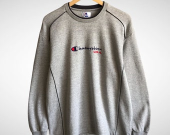 25/% OFF Vintage CHAMPION AUTHENTIC American Sweatshirt With Logo At Chest Size large Streetwear Hip Hop