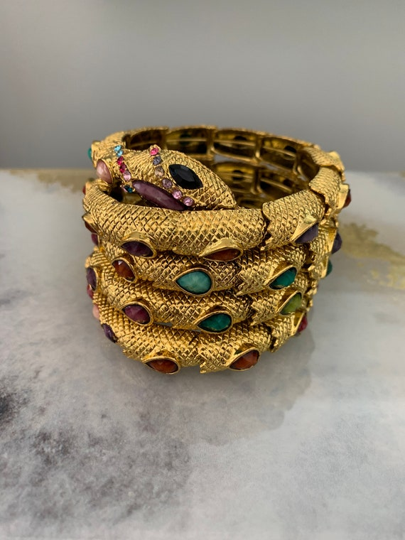 Gold and multi color beaded snake bracelet