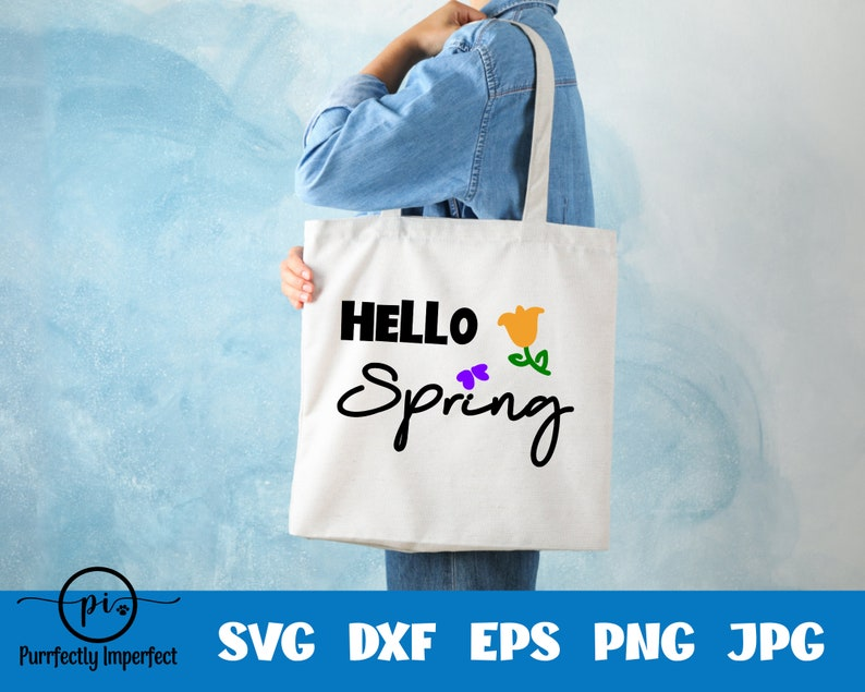 Hello Spring  Spring Flower  Butterfly  SVG  Cut File  Cricut  Silhouette