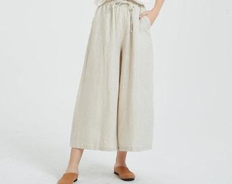 Women's linen long pants, linen skirt pants, wide leg pants, plus size pants, loose casual trousers, spring custom hand made pants A117-2