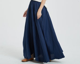 Women's linen long skirt, vintage skirt, linen skirt, women skirt, plus size skirt, maxi skirt, fall spring skirt custom hand made skirt R12