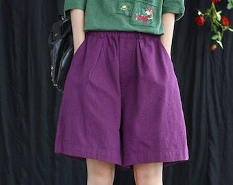 Short Linen pants with pockets women wide leg pant loose large size elastic waist trousers custom casual plus size pants N88