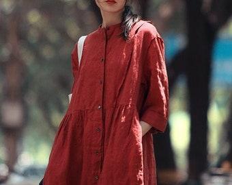 Linen Dresses for Women Midi summer dress 100% linen Plus size dress custom dress loose casual handmade dress long linen robe N48