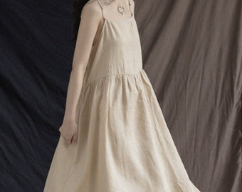 Linen dress sling long dress summer casual dress adjustable sling sleeveless dresses linen maxi dress oversized dress boho plus size N97