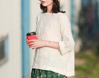 Women's 100% linen tops, white long sleeves tops, loose linen blouses oversized shirt, plus size clothing custom hand made clothing boho N20