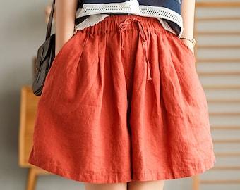 Women linen shorts linen wide leg shorts loose casual maxi trousers fall spring custom shorts plus size shorts summer beach shorts N88