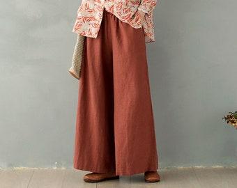 Linen cotton pants for women, linen skirt pants, wide leg long pants, plus size pants, loose casual maxi trousers, fall custom pants A117-3