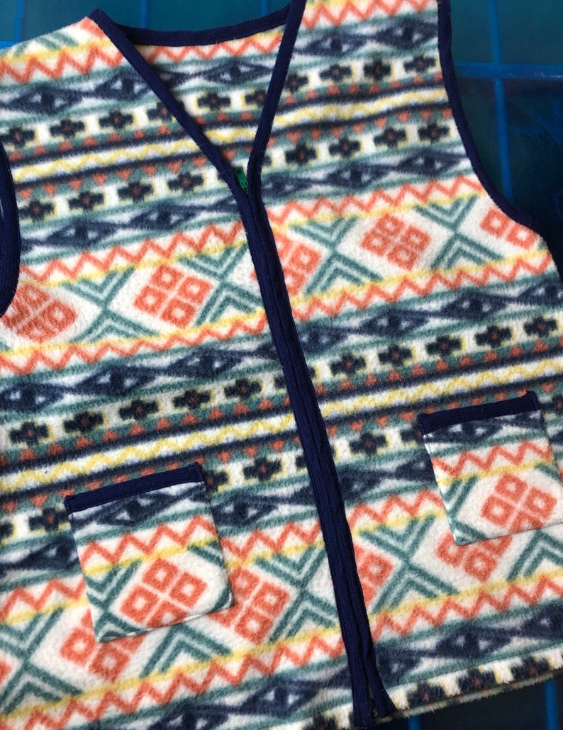 multicolor sweater jacket Fleece fleece fleece vest vintage crazy jacket 80/' 90/' back winter mountain hot