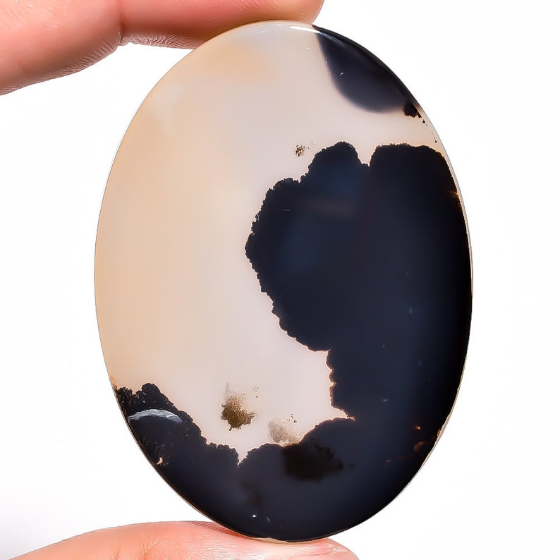 Dendritic Agate 61X45X5 mm for jewelry making Natural Dendritic Agate Oval Cabochon Loose Gemstone 102.15 Ct