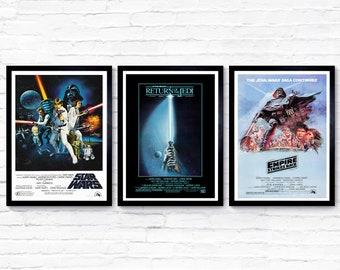 Star Wars - Original Trilogy - Star Wars Set of 3 Posters - 1977 - Movie Poster / Film Poster - A1, A2, A3, A4, A5 Posters / Prints
