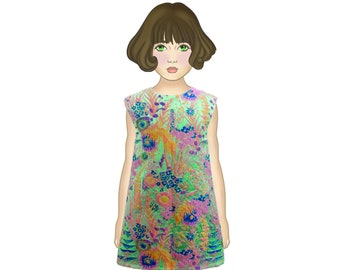 baby dress ceremony communion confirmation multicolor floral dress jacquard turquoise pink girl tailor-made atelier kids fashion fashion