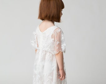 dress baby first communion confirmation christening bridesmaid bridesmaid dress white tulle custom embroidered atelier kids fashion fashion