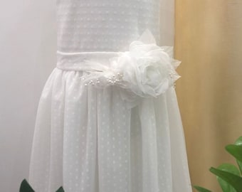 dress baby first communion confirmation christening bridesmaid bridesmaid dress white tulle pois tailored atelier kids fashion fashion